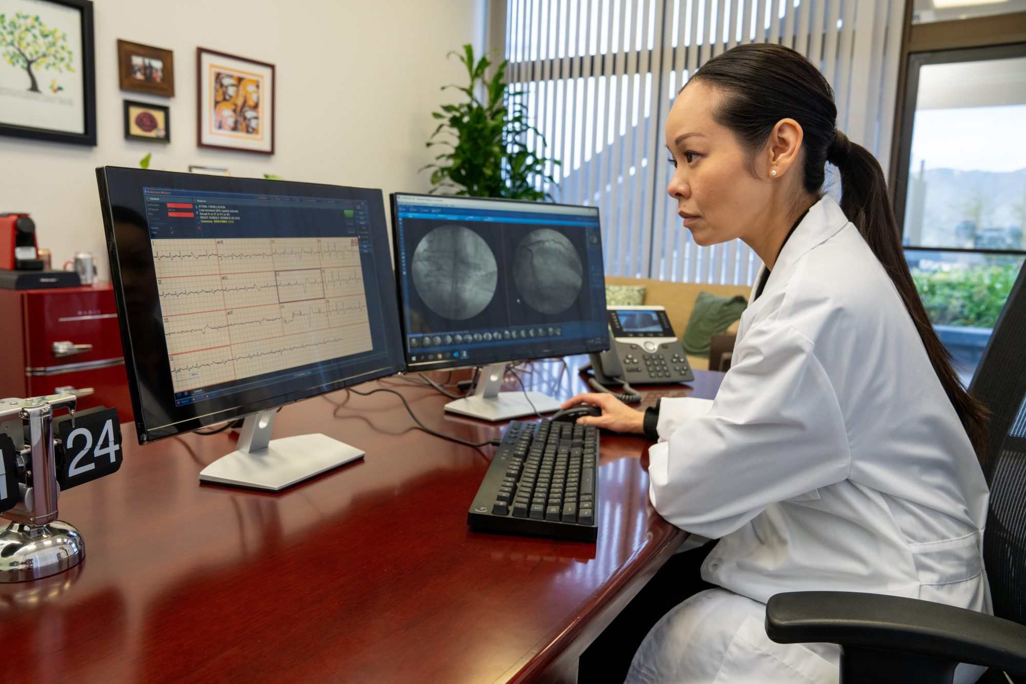 Cardiologist analyzing information on monitor