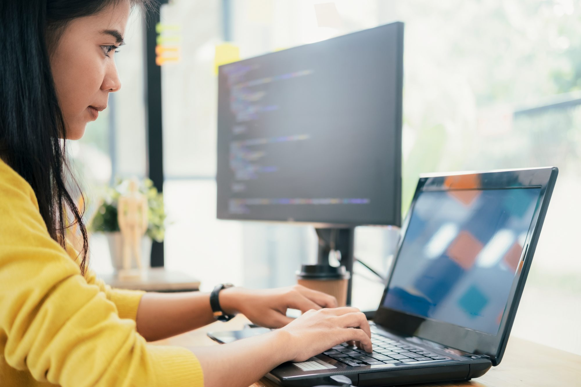 Programmers and developer teams are coding and developing software.